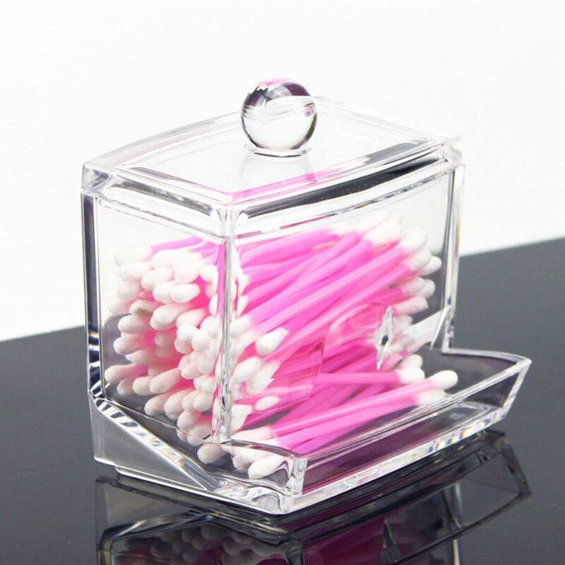 2017 Cute Clear Acrylic Office Organizer Box Q-tip Storage Box Pushpin Clip mini Cotton Swab Dispenser
