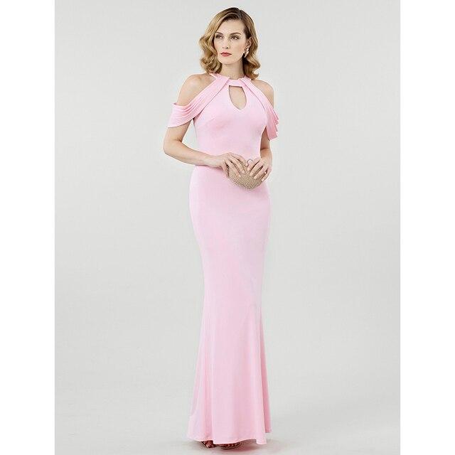 TS couturesheath/колонки Jewel Средства ухода за кожей Шеи пол Длина Джерси Формальное вечернее платье со складками