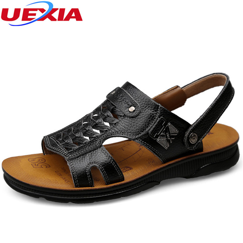 UEXIA Sandalias Hombre Leather Summer Soft Male Sandals Shoes for Men Breathable Light Beach Casual Quality Walking Sandal 2018