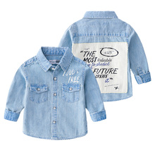 Baby Boys Kids clothes long sleeve Shirt Turn-down Collar Blouses Toddler Casual Newborn Blue Denim Boy Shirts 2-8T цена 2017