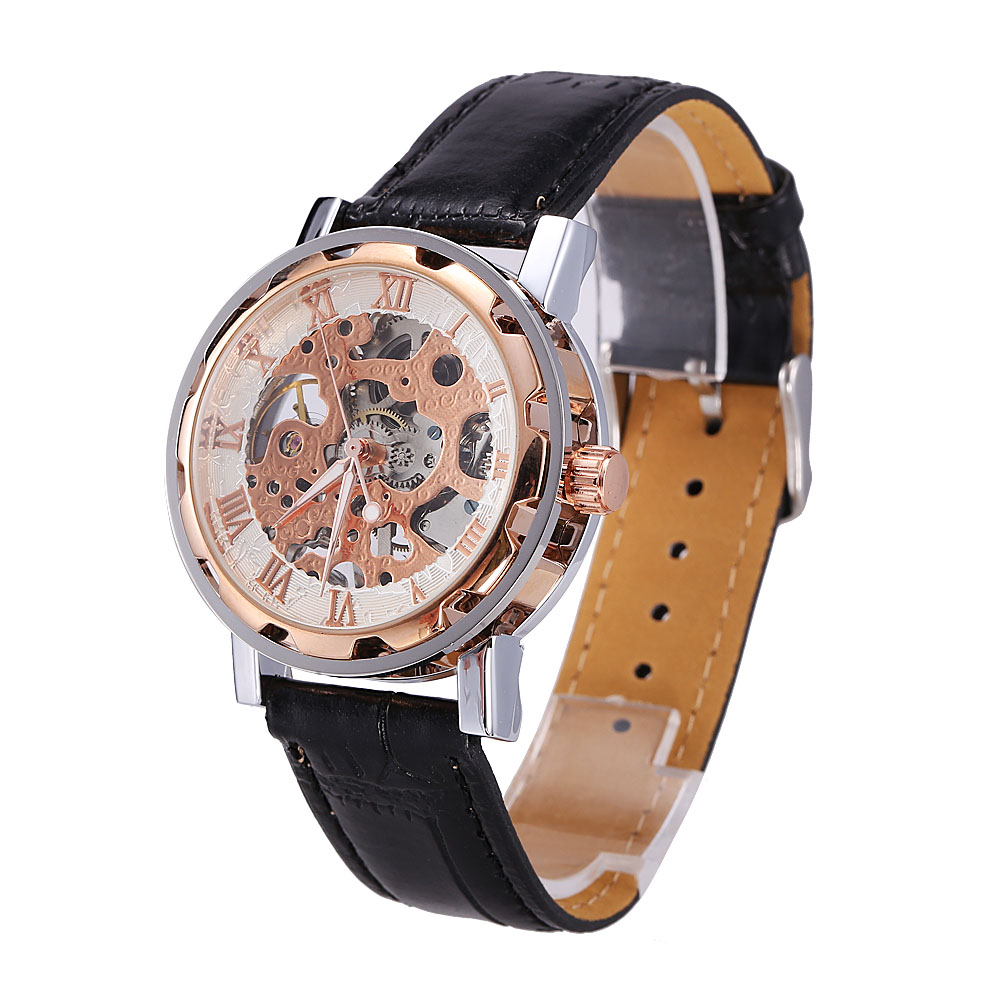 High End Classic Men's Gold Dial Skeleton Black Leather Mechanical Sport Army Wrist Watch купить