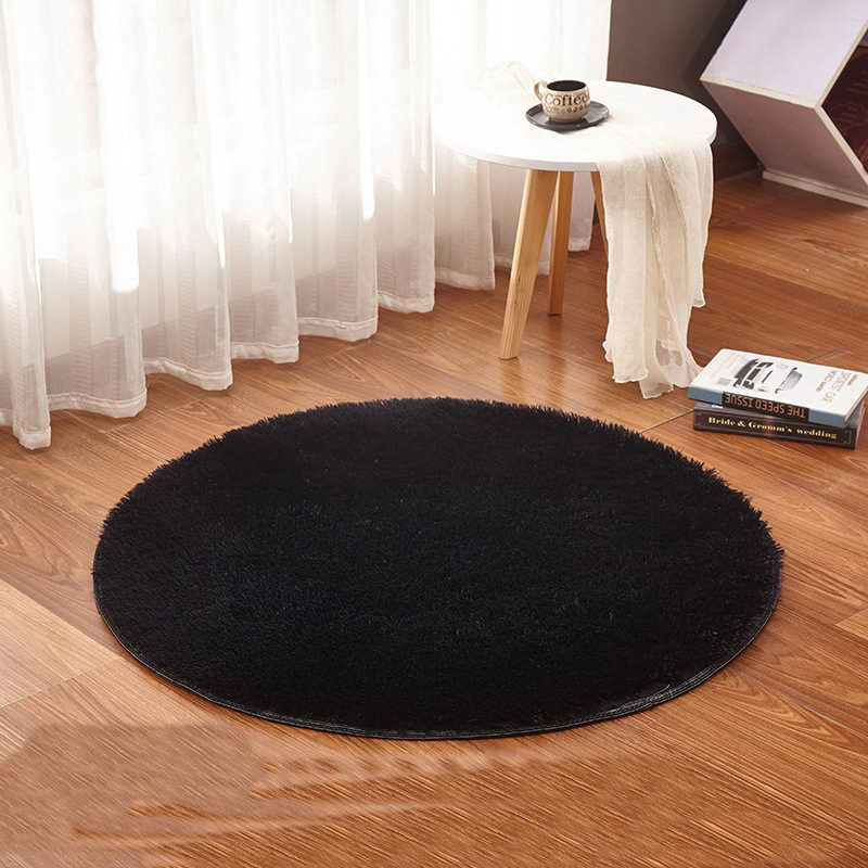Yoga Living Room Carpet Kids Room Rugs Soft and Fluffy Warm,black Red Color Custom Size, Diameter <font><b>60</b></font>,80,<font><b>100</b></font>,120,160cm image