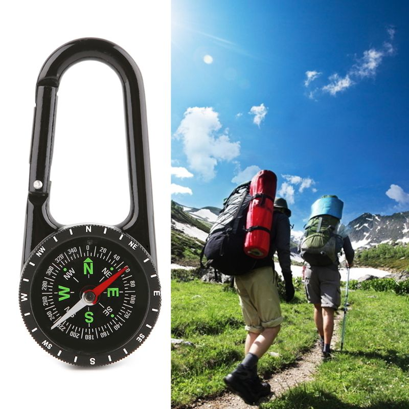 1 Pc 2 in 1 Zinc Alloy Compass Carabiner Outdoor Hiking Camping Hunting Keychain Big Dial Direction Guide in Compass from Sports Entertainment