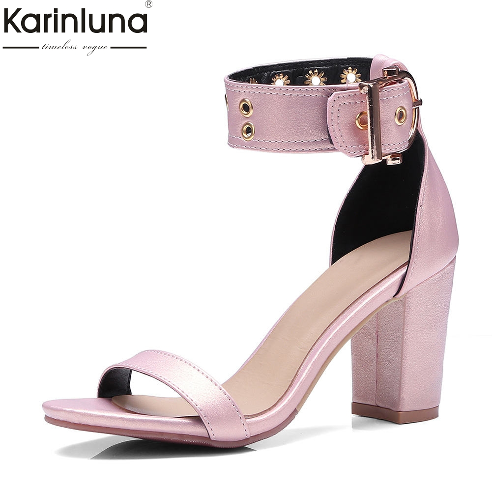 KARINLUNA 2018 big size 30-48 concise square high heels ankle-strap summer sandals woman pumps womens shoes