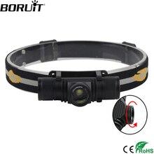 BORUIT 1000LM XM-L2 светодиодный мини-фонарь, масштабируемый налобный фонарь, USB зарядное устройство, 18650 аккумулятор, Головной фонарь, фонарь для кемпинга, охоты