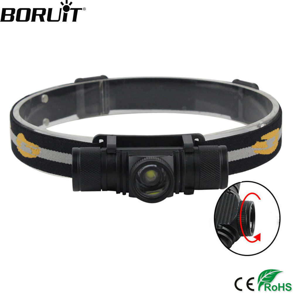 BORUIT 1000LM XM-L2 LED Mini Headlight Zoomable Headlamp USB Charger 18650 Battery Head Torch Camping Hunting Flashlight