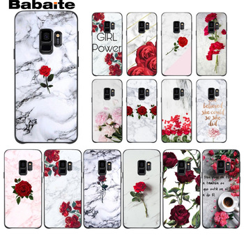 Pink Marble pattern Rose Peony Black Soft Phone case Cover For Samsung Galaxy s9 s8 plus note 8 note9 s7 s6edge Cover Babaite