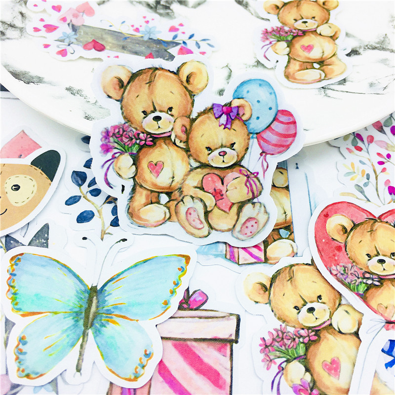 20 PCS Cute Baby Teddy Bear Stickers Crafts And Scrapbooking Stickers Book Student Label Decorative Sticker Kids Toys