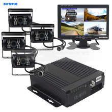 DIYSECUR SD 4CH Car DVR Video Recorder 7inch HD Car Monitor + 4 x Night Vision Rear View Camera For Truck Van Bus
