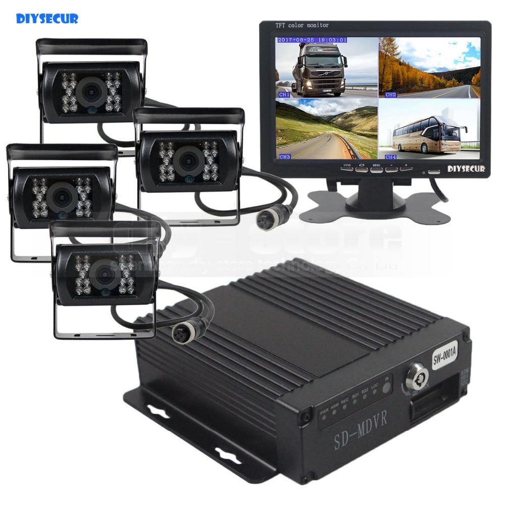 DIYSECUR SD 4CH voiture DVR enregistreur vidéo 7 pouces HD moniteur de voiture + 4 x Vision nocturne caméra de recul pour camion Van Bus