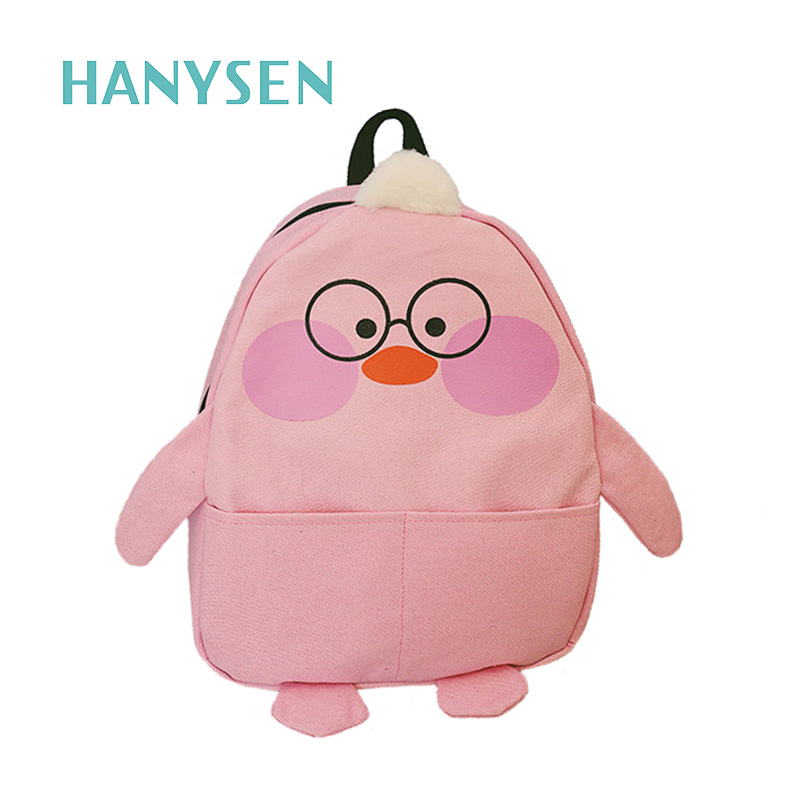 2017 Lovely Duck Face Printed Canvas School Bag Backpack Preppy Style Back Bag Casual Backpacks Cute