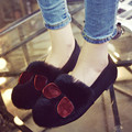 Winter Women Shoes Warm Rabbits Fur Flats Shoes  Round Toe Loafers Indoor Floor Sunglass Shoes Pregnant Women Shoes Plus Size