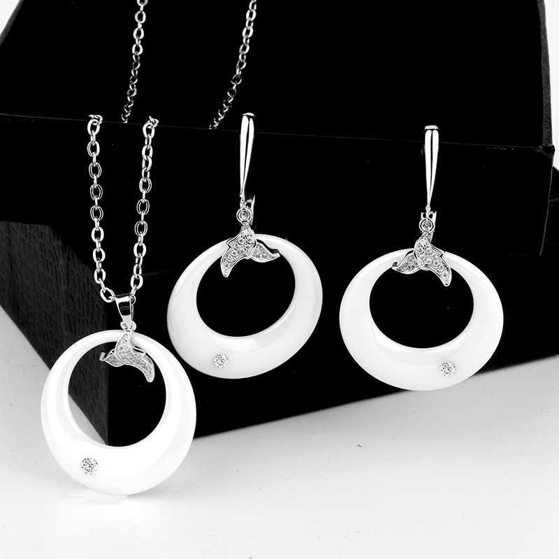 Hitam Anting-Anting Dan Liontin Perhiasan Set dengan Batu untuk Wanita Bijoux Mariage Stainless Steel Keramik Putih Anting-Anting Pernikahan Set