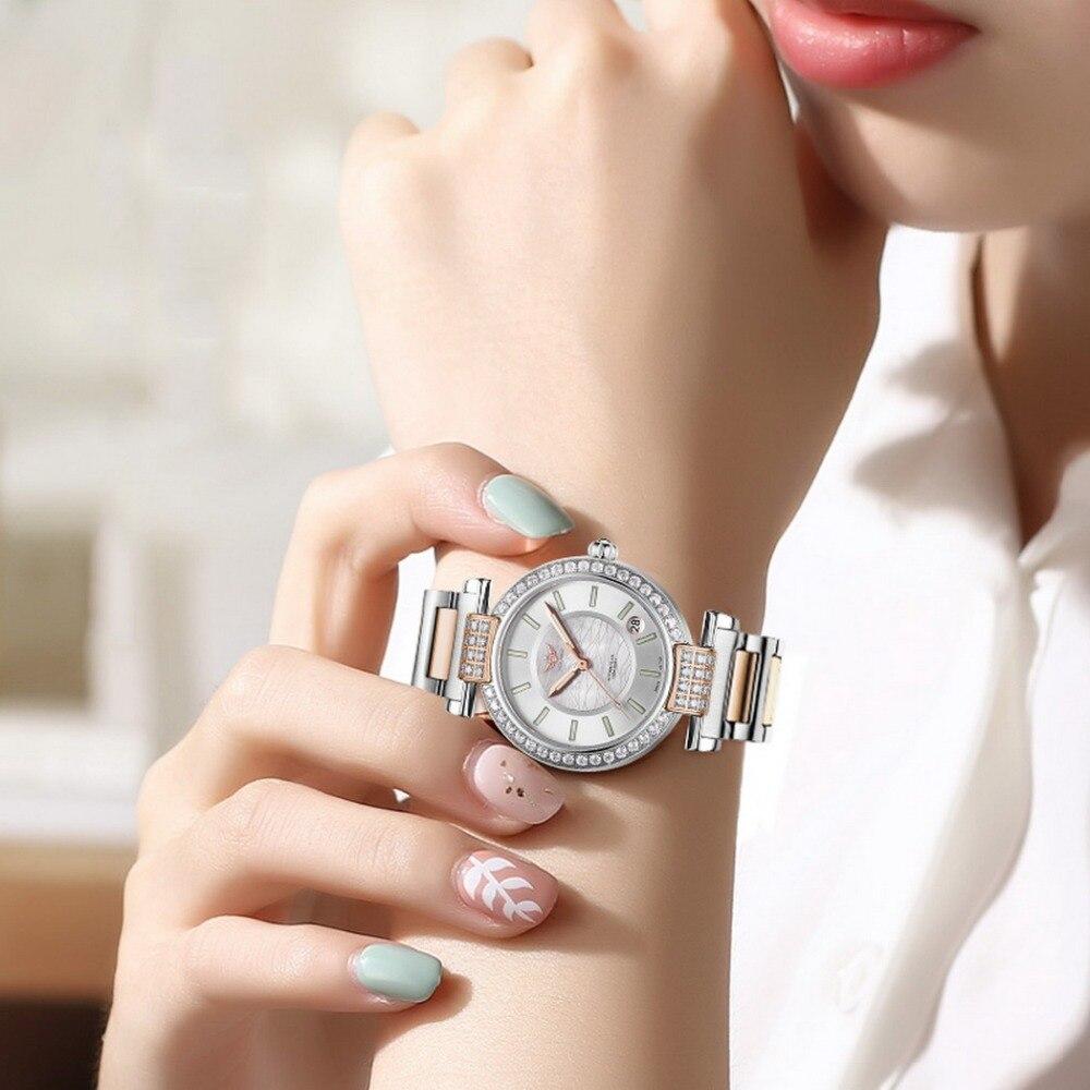 Yelang V1026 pani Austria kryształ T100 Luminous kobiet pasek stalowy 100 M wodoodporna automatyczne Meachanical zegarek na rękę różowe złoto w Zegarki damskie od Zegarki na  Grupa 2
