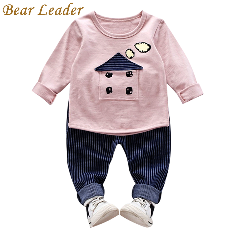 Bear Leader Baby Boys Girls Clothes 2017 Autumn Baby Clothing Sets House Applique Sweatshirt+Striped Pants 2Pcs for Baby Clothes bear leader baby boys girls sets 2017 autumn baby clothing sets house applique sweatshirt striped pants 2pcs for baby clothes