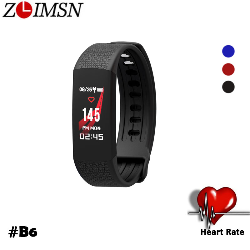 ZLIMSN 2018 LED Color Heart Rate Smart Wristband Sport Smartband Pedometer Fitness Tracker Bracelet Band Watch For IOS Android