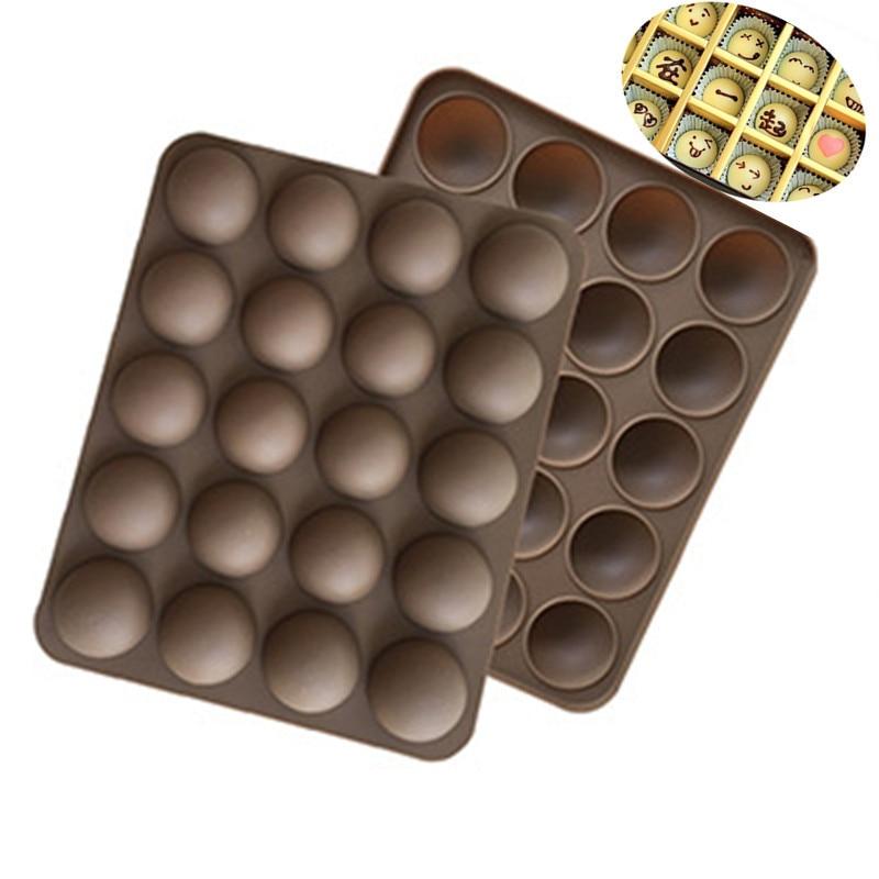 Инструменты для торта, антипригарная силиконовая мини-форма для трюфеля, 20 полушаров, форма для шоколада, для выпечки, трюфеля, украшения то...
