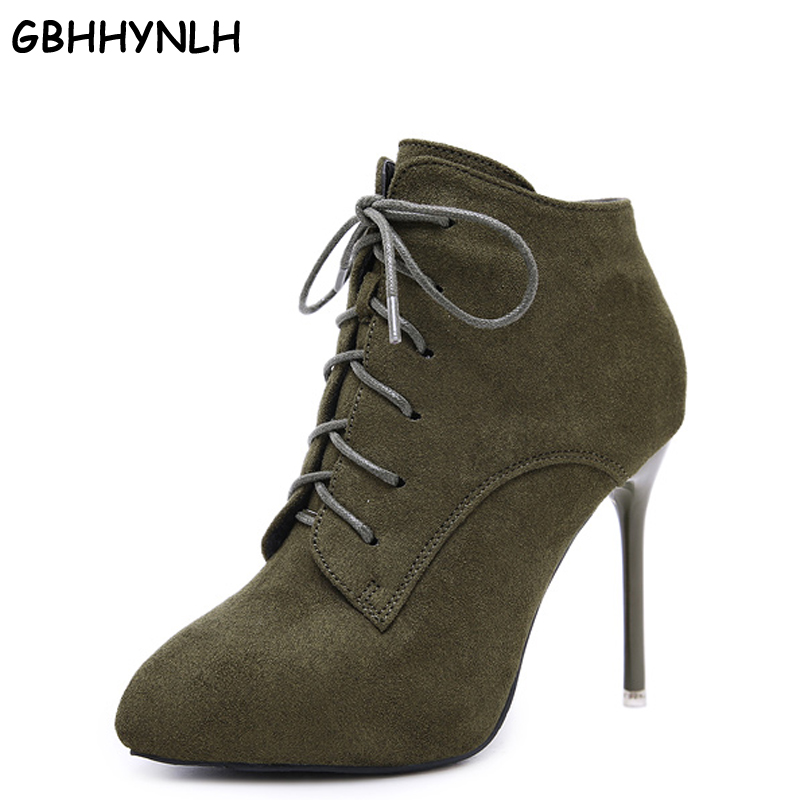 GBHHYNLH fur boots 2019 Winter Autumn Women Boots snow shoes Ankle Boots Heel Height Pointed Toe