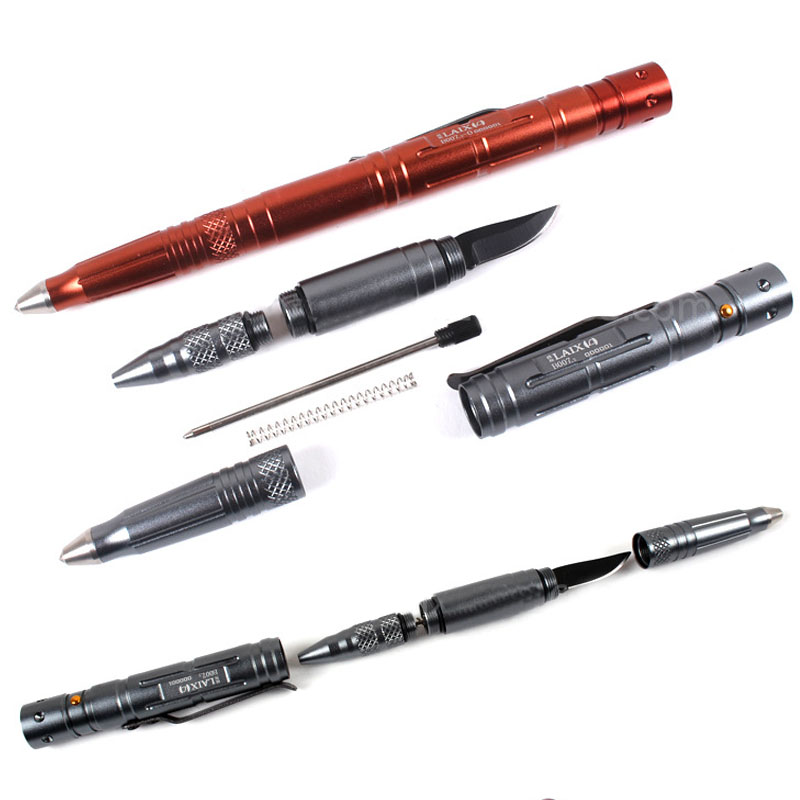 4 IN 1 LAIX Self Defense Tactical Pen EDC Tool Tungsten Steel Glass Breaker + Knife Blade LED Flashlight Hammer Pen laix self defense tactical pen multi tool steel glass camping tool knife touch pen self defence weapons pen