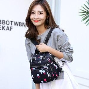 Image 5 - 여성 나일론 배낭 방수 여성 디자이너 어깨 가방 만화 인쇄 배낭 미니 캐주얼 bagpack sac 주요 소녀 가방