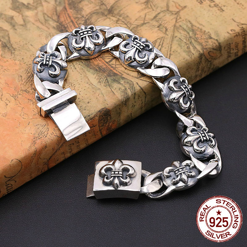 S925 bracelet en argent sterling pour hommes personnalité mode classique bijoux punk style ancre forme 2018 nouveau cadeau à envoyer amant