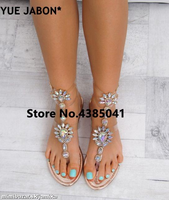 HTB1WN1RAeuSBuNjy1Xcq6AYjFXap 2019 shoes woman sandals women Rhinestones Chains Flat Sandals Thong Crystal Flip Flops sandals gladiator sandals 43 free ship