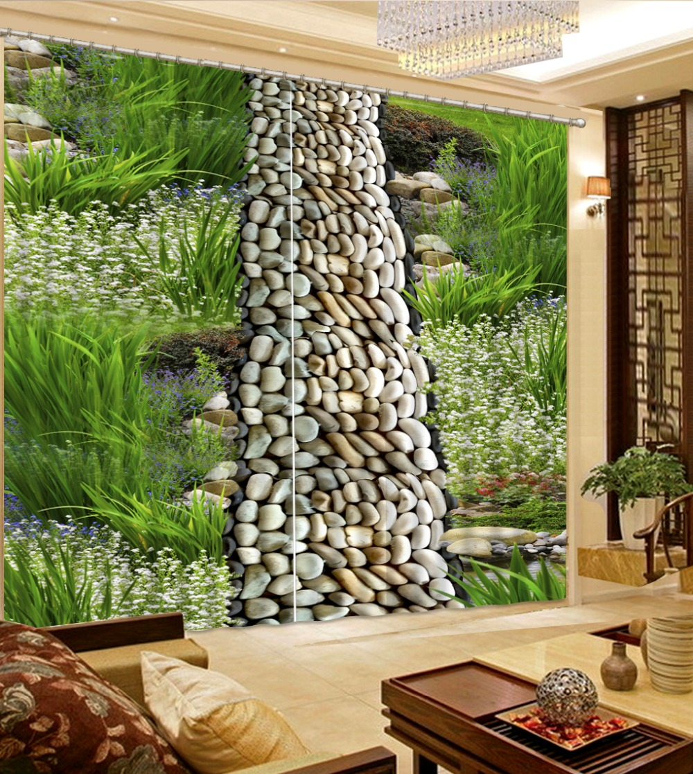 3d Printed Curtains For Window Living Room Park Meadows Flower Pebbles Fashion Home