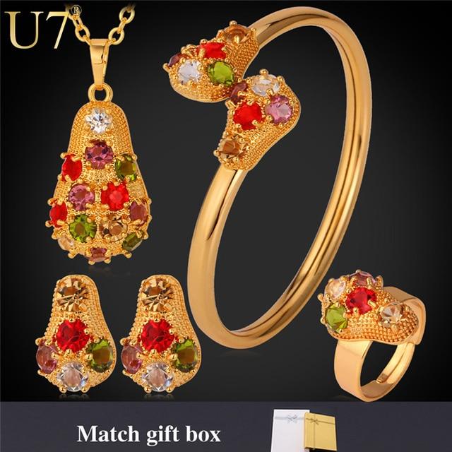 U7 conjunto de collar de cristal de las mujeres chapado en oro rhinestone colorido collar/pendientes/pulsera/anillo de la joyería nupcial conjuntos s615