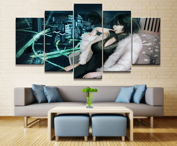 5 Panel One Punch Man Tatsumaki Anime Figure Canvas Painting Printed For Living Room Wall Art Decor HD Picture Artworks Poster 1