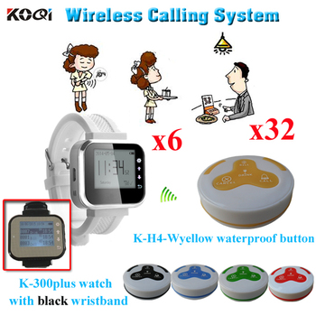 Paging System Of Coffee Bar Customer Calling Button For Service 6pcs Watch Receiver With 32pcs Buzzer For Waiter Table U