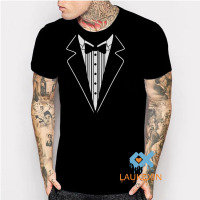 2016 New Summer Novelty Men T Shirts Tuxedo Tees Retro Tie Funny Camisetas Funny Party Mens
