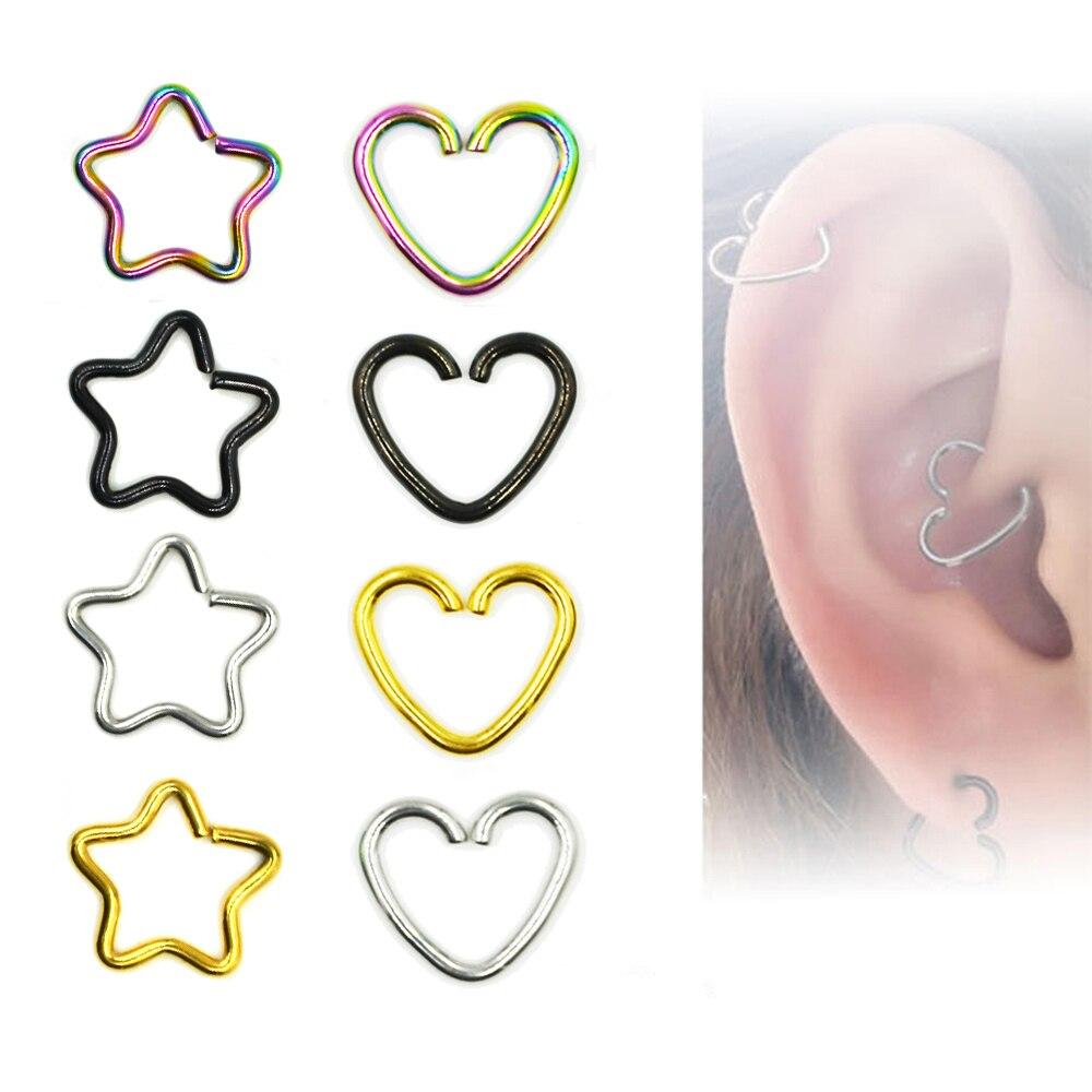 32da517ee16 1Piece Anodized Body Piercing Earring Daith Heart Ring Star Shape Tragus  Cartilage Orbital Ear Helix Jewelry