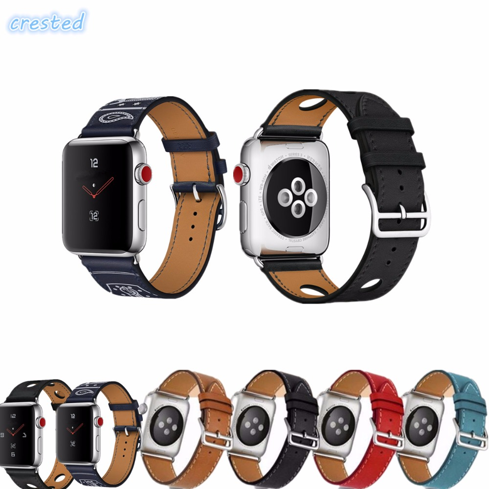 купить CRESTED leather watch  strap for apple watch band 42mm/38 single tour bracelet & Genuine Leather watchband for iwatch 1 2 3 по цене 452.71 рублей