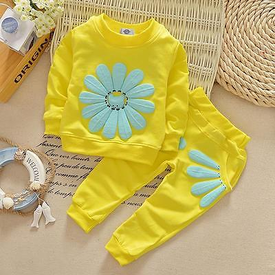 Long Sleeve Cotton Children Baby Girls Kid SunFlower Tops+Long Pants 2Pcs Outfit Clothing Set Suits Kids Flower Clothing Set casual autumn baby children kids infants girls long sleeved t shirt tops overalls bib long pants 2pcs clothing set suits mt989