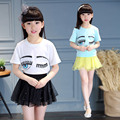 Girls Summer New Eyes Embroidery Short Sleeved T-shirt All-match Clothing White Pink Blue
