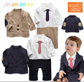 Baby boy gentlemen infantil clothes  infant toddler child  khaki cotton fashion full long tie  jacket +romper clothing  set