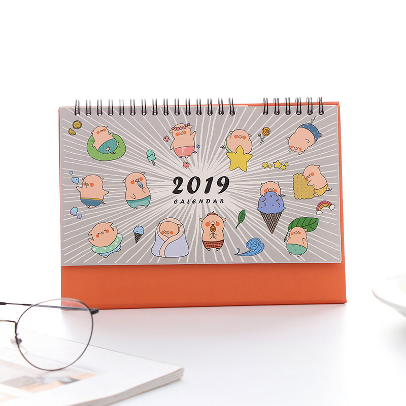 Professional Sale Coloffice 1pc 2019 Annual Year Cartoon Pig Personality Desk Calendar Multifunction Stationery School Office Supplies 155*215cm Calendar