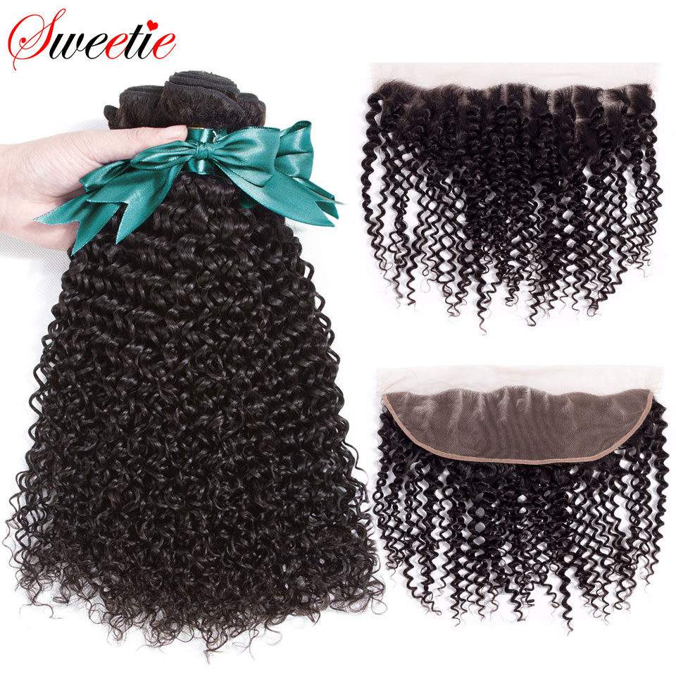 Sweetie Afro Kinky Curly Bundles with Frontal Closure 3 Bundles Indian Human Hair Weave Non remy