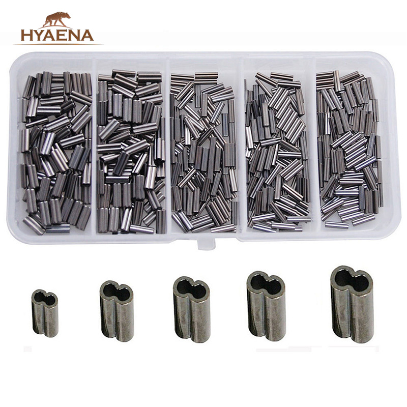 Hyaena 300pcs/box Double Barrel Crimping Sleeves Copper Tube Tackle Connector 0.8-2.6mm