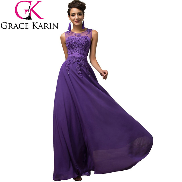 Long Maxi Dresses Plus Size 3XL 4XL 5XL Purple V-Back Chiffon Robe De Soiree 5dce3e641a5b