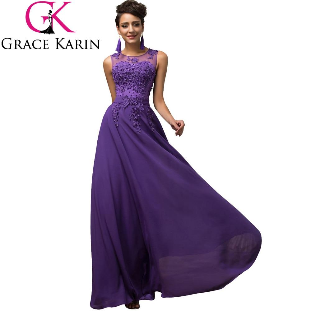 ✓Maxi largo Vestidos más tamaño 3xl 4xl 5xl púrpura v-back gasa de ...