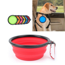 Portable folding silicone travel bowl pet dog feeder water food foldable cat large