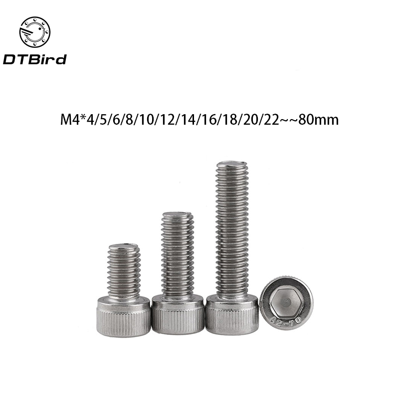 Metric Thread DIN912 M4 304 Stainless Steel Hex Socket Head Cap Screw Bolts M4*(4/5/6/8/10/12/14/16/18/20/22/25/30/35/40/45/50) 50 pieces metric m4 zinc plated steel countersunk washers 4 x 2 x13 8mm