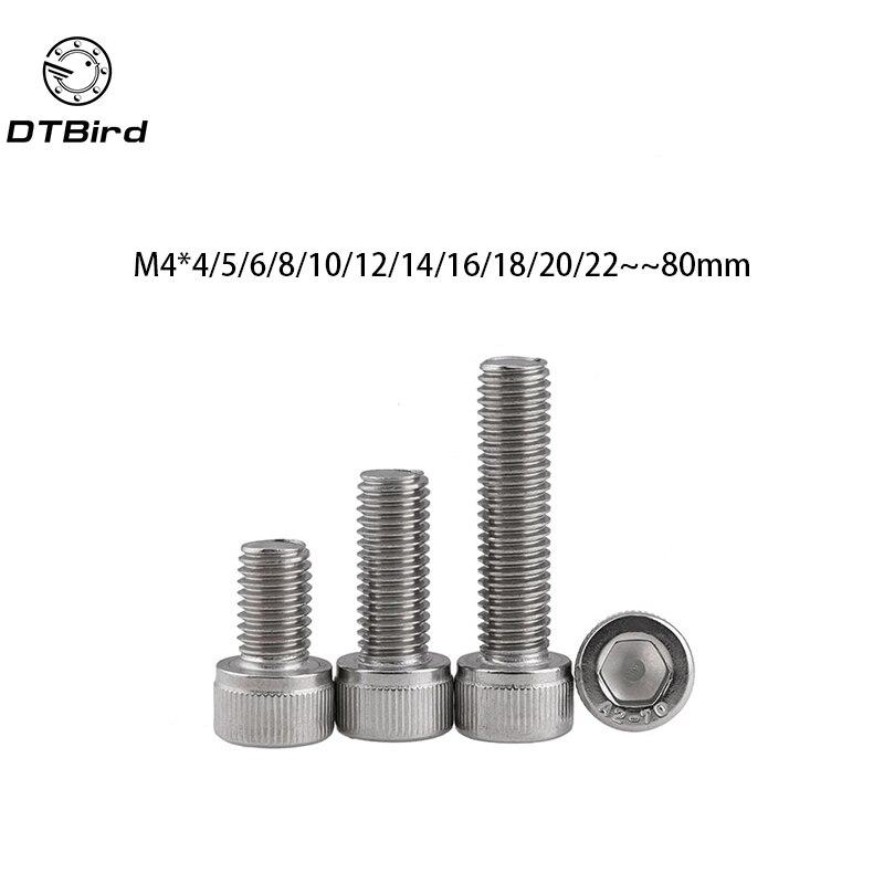 Metric Thread DIN912 M4 304 Stainless Steel Hex Socket Head Cap Screw Bolts M4*(4/5/6/8/10/12/14/16/18/20/22/25/30/35/40/45/50) все цены