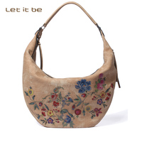 Let It Be Designer Leather Hobo Handbags Shoulder Bags Women Purse With Flower Printed