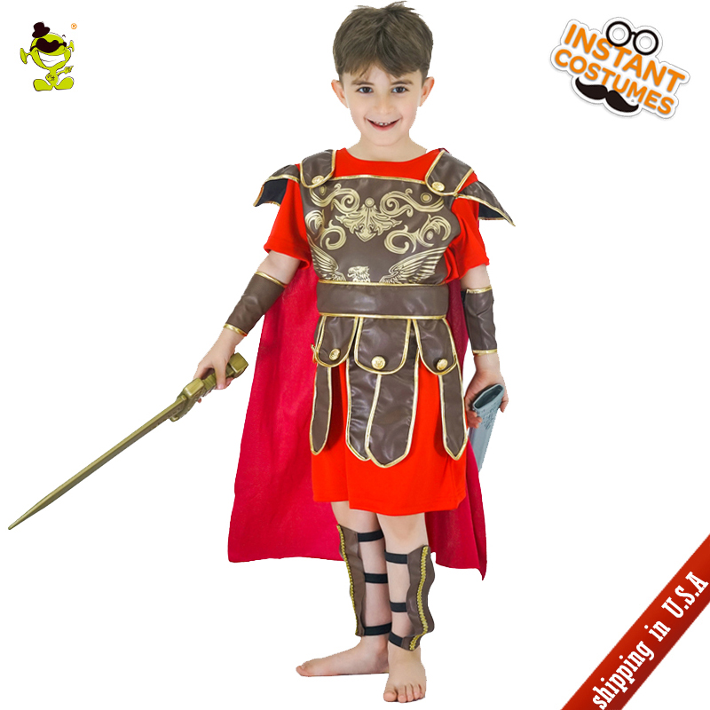 QLQ Boys Roman Warrior Costumes Kids Brave Warrior Leaders Role Play Sets with Cape Halloween Medieval Soldiers Cosplay