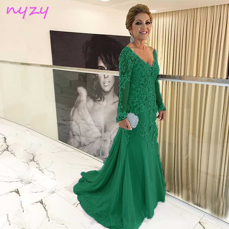 NYZY M55D Long Mother Of The Bride Dresses 2019 Emerald Green Mermaid Long Sleeves Wedding Party Dress Groom Mother Guest Gowns