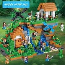 Qulong 0507 957pcs Скрытый водопад Совместим с Legoe Minecreafted City Buidling Blocks Обучающие игрушки Подарок для детей