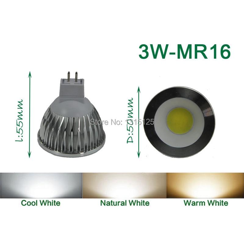 4 stks / partij high power led spot COB, 3 W COB MR16 Licht, 3200 K - LED-Verlichting
