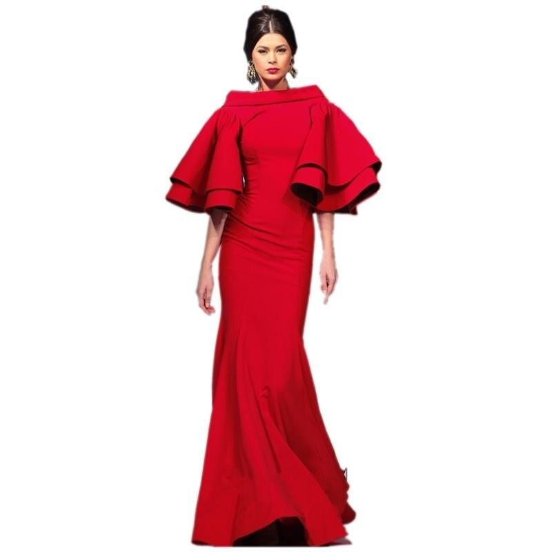 Sexy Dubai arabe rouge sirène robes De soirée avec manches dos nu longues robes De soirée Robe De bal Robe De soirée 2019